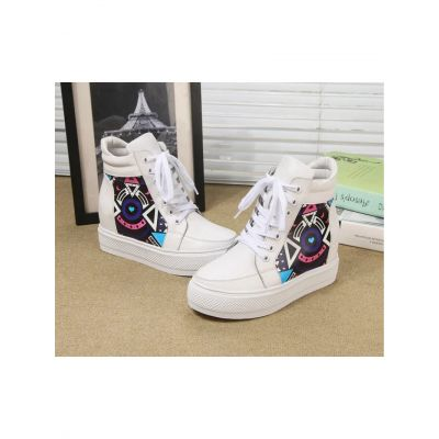 Latest Fendi Graffiti Details Ladies White Leather Lace-up High-top Simple Wedge Sneakers For Sale