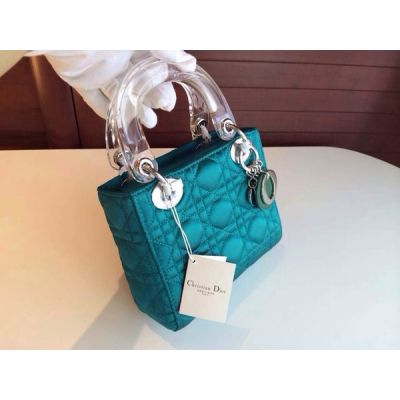 Mini Silver Hardware Transparent Top Handle Dior Lady Default Totes Canange Leather Crossbody Bag Turquoise