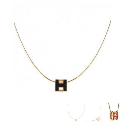 Hermes Classy Pop H Charm Necklace Replica Multi- Color Rose Gold Chain Jewels