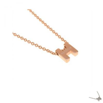 Worthy Hermes Pink Gold/Silver/Yellow Gold Chain Necklace Fake 3D H Logo Pendant Jewellery