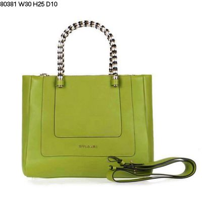 Best Replica Bag Bvlgari Tote Serpenti Two Silver Cylindrical Handle Straps Leather Women's Apple Green