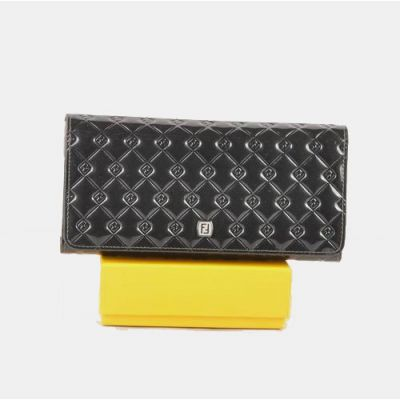 Fendi Silver Double F Buckle Dark Grey Patent Leather Cannage Quilted Large Compartments Long Folding Wallet