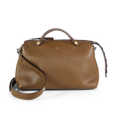 Fendi Female Large By The Way Maple Leather Zipper Shoulder Bag Flat Handle Crocodile-Accented Sale