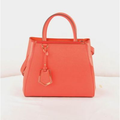 Women's Fendi Yellow Gold Hardware Red Cross Veins Leather Small 2Jours Totes Top Handle Small