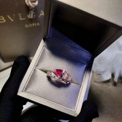 Bvlgari Serpenti Snake Design Rose Gold-plated Ring Studded Crystals Carnelian Price London Sale For Women