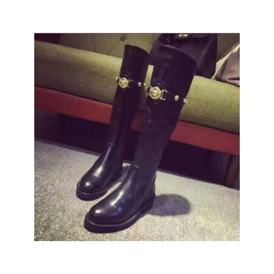 Leisuer Style Versace Medusa Womens Black Leather Adornment Over The Knee Pull On Slouchy Boots Replica