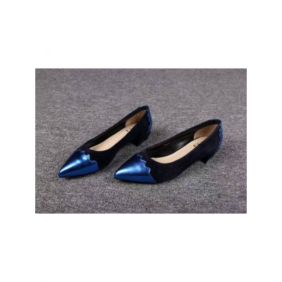 Women's Spring/Fall Fendi Genuine Leather & Suede Leather Patchwork Pointy Toe Clone Pumps Blue/Silver
