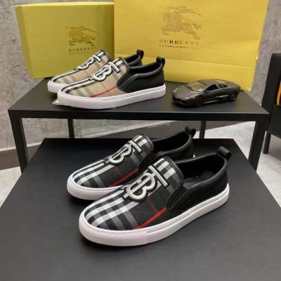 Spring Hot Selling Burberry Big B Logo Embroidery Vintage Check Pattern Men Cotton Fabric Black Leather Patchwork Casual Shoes