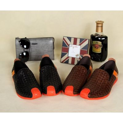Hermes Orange Rubber Outsole High Quality Calfskin Leather Braided Upper Mens Mocassins & Loafers Black/Brown