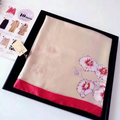 Top Style Women's Burberry Floral Printing Red Edging High-end Silk Rectangle Shawl Beige