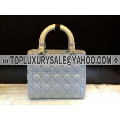 Fashion Dior Beige Handle Lady Baby Blue Leather Clone Tote Bag