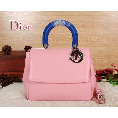 """Popular Dior """"Be Dior"""" Pink Calfskin Leather Flap Tote Bag Blue Top Handle Silver Hardware"""