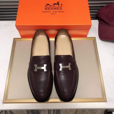 Hermes Classic Style Silver H-shaped Buckle Dark Brown Cow Leather Mens Fake Business Loafers For Sale
