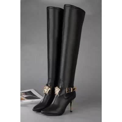 Versace Palazzo Golden Slim Heels Ladies Black Leather High Boots With Medusa Head And Buckle