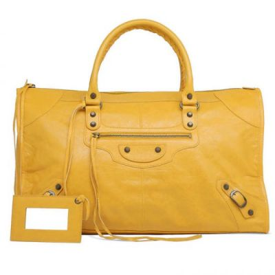 Fashion Balenciaga Yellow Leather Aged Brass Hardware Womens Work Shoulder Bag Studs Totes Online