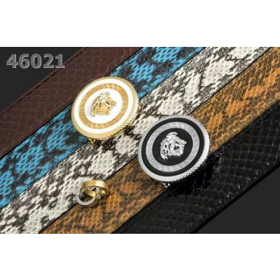 Versace Snake Embossed Leather Multicolor Strap Logo Design Round  Two-tone Pin Buckle Mens Fashion Belt