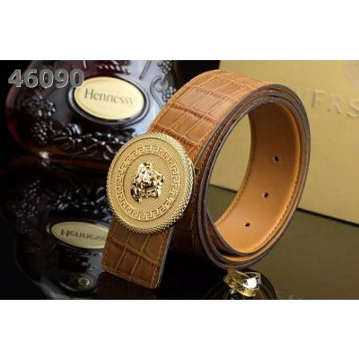 Unisex Versace Multicolor Crocodile Embossed Leather Reversible Belt With Round Logo Pin Buckle For Sale