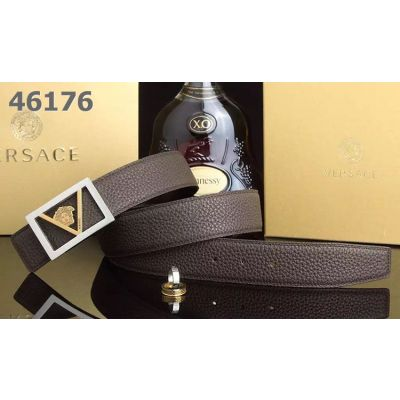 2017 New Versace Logo Design Squared Pin Buckle High End Grainy Leather Unisex Leisure Belt Multicolor