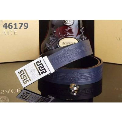 Versace Medusa Motif Plaque Clamp Buckle Logo Embossed Leather Mens Dress Belt Black/Coffee/Navy