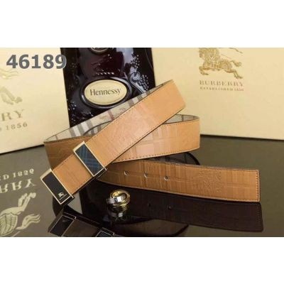 Burberry Reversible Check & Leather Strap 2-Tone Pin Buckle Romantic Mens Belt Blue/Earth Yellow