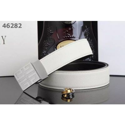 Hot Selling Givenchy White Stitches Epsom Leather Mens Dress Belt With Logo Plaque  Clamp Buckle Multicolor