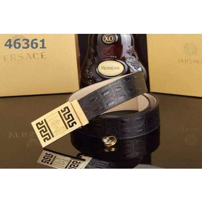 Fashion Style Versace Logo Embossed Clamp Buckle Mens Croco Leather Veins Leisure Belt Black/Brown