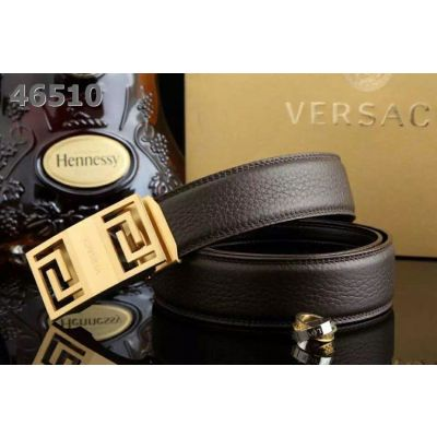 Versace Logo Embossed Slide Buckle High End Grainy Leather Mens Ratchet Belt For Formal Outfits