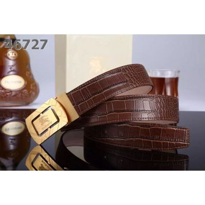 Burberry Logo Plaque Rotated Buckle High End Crocodile Leather Mens Dress Belt Black/Brown