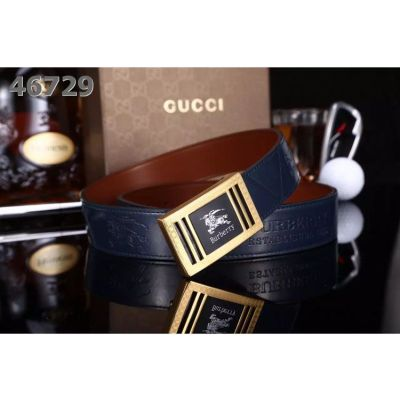 Burberry Fashion Two-Tone Pin Buckle Male Embossed Logo Blue Leather Belt For Mens For Sale