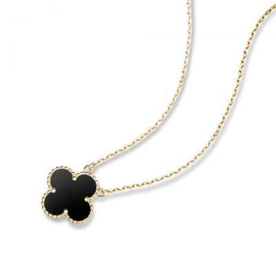 VCA Magic Alhambra Red & Black Clover Motif Pendant Necklace White/Pink/Yellow Gold Women Jewelry VCARO49N00