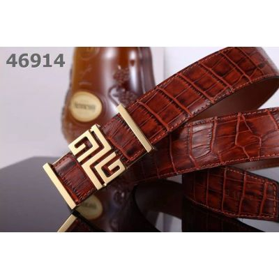 2017 New Givenchy Smooth Croco Embossed Leather Reversible Fashion Belt With Logo Pin Buckle For Mens