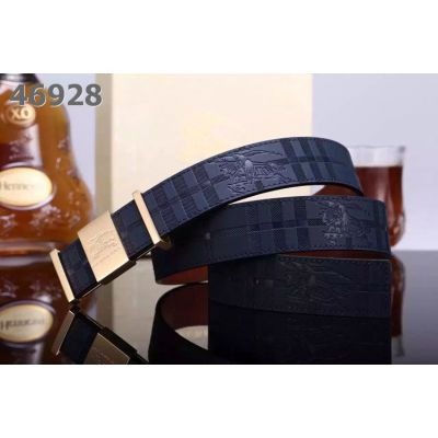 Hot Selling Burberry Leather Check Strap High Quality Logo Buckle Men's Belt For Gift Navy/Burgundy