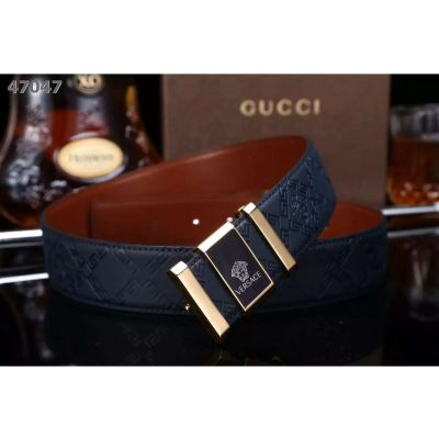 Versace Logo Pattern Frosted Leather Mens Dress Belt With Two-tone Medusa Pin Buckle Black/Navy/Burgundy