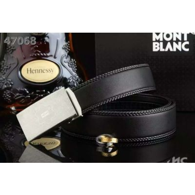 Cheapest MontBlanc 35mm Braided Edge Strap Plaque Logo Embossed Automatic Buckle Mens Dress Belt Black/Coffee
