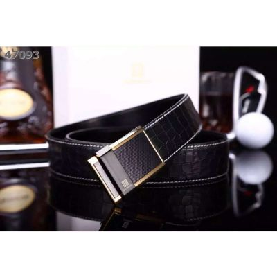 Givenchy Two-tone Plaque Pin Buckle White Stitches Croco Embossed Leather Reversible Business Belt For Mens