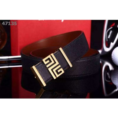 Givenchy Smooth Grainy Leather Reversible Strap Gold/Silver Logo Pin Buckle Mens Fashin Belt