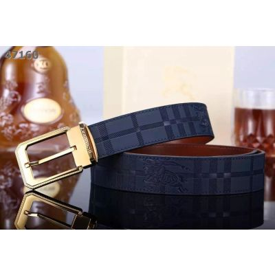 Burberry Embossed Logo Navy Leather Strap Gold/Silver Signal Tongue Buckle Mens Belt Uk