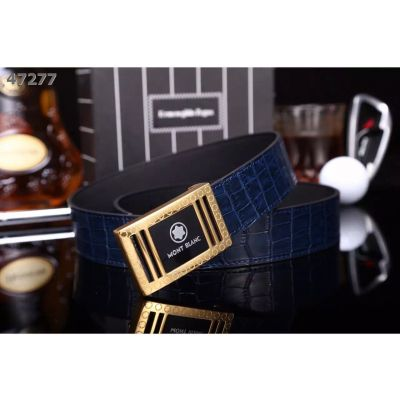 Montblanc Two-tone Logo Pin Buckle High End Croco Embossed Cowhide Leather Guy Clone Dress Belt Multicolor