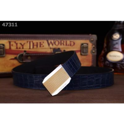 Montblanc Fashion Style Croco Embossed Strap Chequer Engraving Two-tone Slid Buckle Mens Calfskin Leather Belt