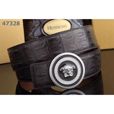 Low Price Versace Croco-Veins Leather Strap Round 3D Medusa Pin Buckle Guy Business Belt Multicolor
