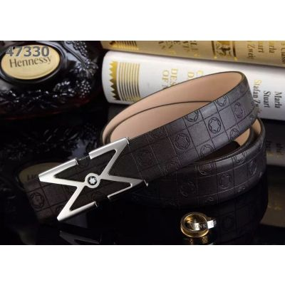 """Latest Montblanc Fashion Logo Embossed Leather Strap Simple Double """"M"""" Pin Buckle Mens Leisure Belt Replica"""
