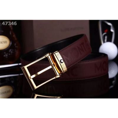 Best Montblanc Frosted Engrave Design Leather Strap Single Tongue Pin Buckle Male Leisure Belt Black/Burgundy