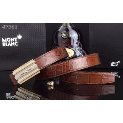 Montblanc Top Sale Two-tone Logo Plaque Buckle High End Croco Embossed Leather Mens Business Belt Multicolor