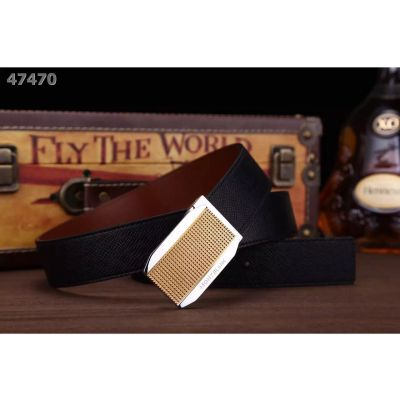Montblanc Fashion Black/Coffee Epsom Leather Reversible Strap Chequer Engraving Two-tone Clamp Buckle Mens Belt