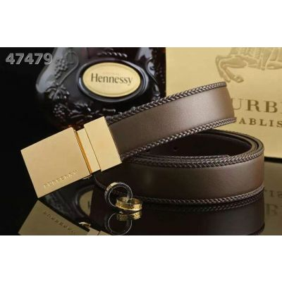 Burberry Gold & Silver Plaque Rotated Pin Buckle Comfortable Braided Edge Leather Belt For Boy Multicolor