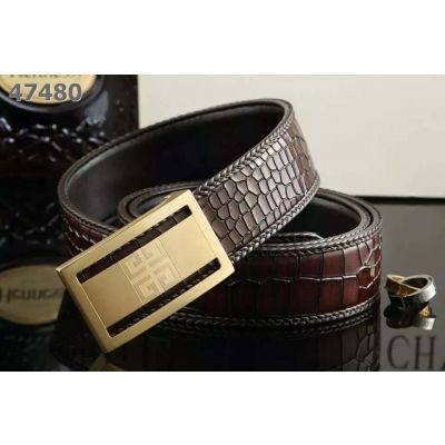 Top Sale Givenchy Braided Edge Fire Cracks Embossed Leather Guy Belt Plaque Logo Pattern Pin Buckle