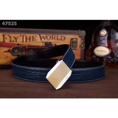 Motblanc Business Style Mens Croco Embossed Leather Clone Belt With Chequer Engraving 2-Tone Plaque Clamp Buckle