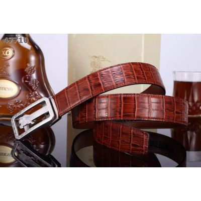Burberry Popular Brick Crocodile Men's Casual Belt With Logo Style Clamp Buckle For Sale