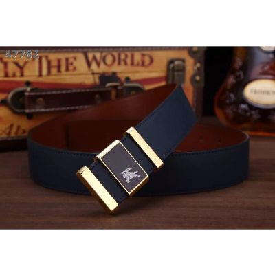 Latest Burberry Two-tone Logo Pattern Pin Buckle Reversible Leather Strap Guy Belt For Formal Outfits