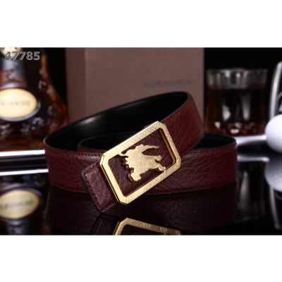 Latest Burberry Logo Style Pin Buckle Comfortable Strap Mens Leather Belt Burgundy/Navy/Black